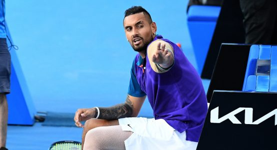 Nick Kyrgios pointing the finger