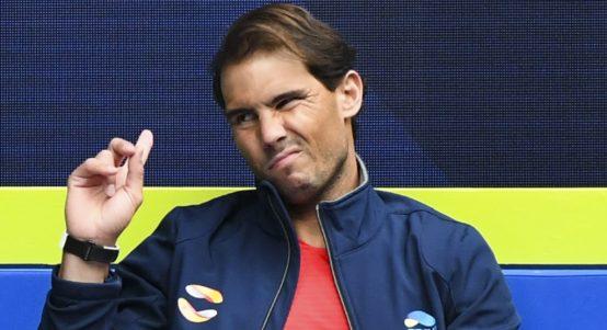 Rafael Nadal pulling a face