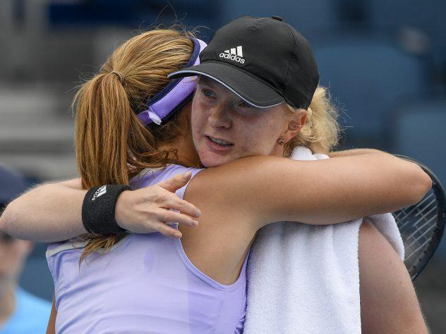 Francesca Jones hugs Nadia Podoroska after their match earlier this week