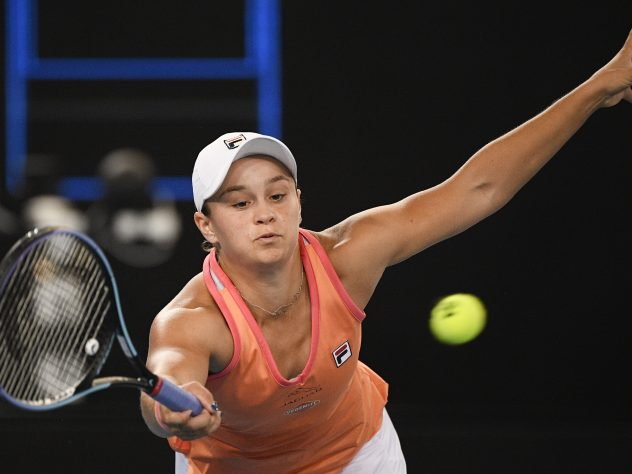 Australia's Ashleigh Barty stretches for a forehand during her victory over Shelby Rogers