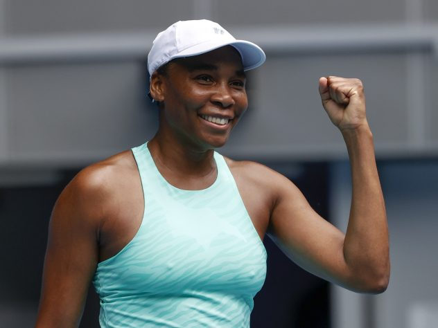 Venus Williams celebrates victory over Kirsten Flipkens