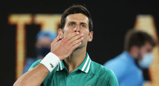 Novak Djokovic blowing kisses