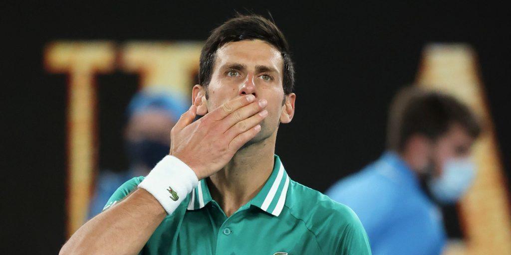 Novak Djokovic blowing kisses