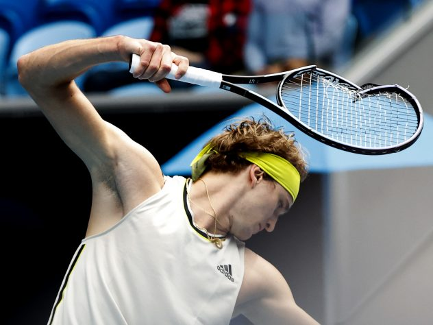 Alexander Zverev is never far from racket-smashing mode and the German took his frustrations out after losing the first set against Marcos Giron