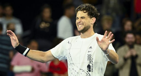 Dominic Thiem celebrating