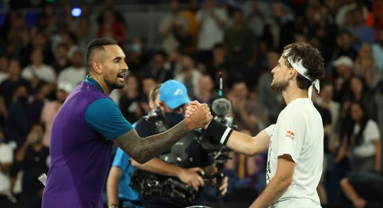 Nick Kyrgios and Dominic Thiem shake hands