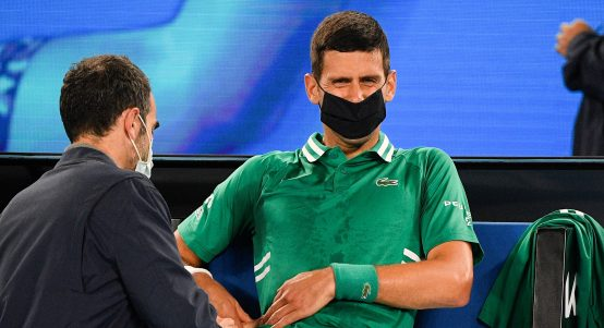 Novak Djokovic in pain
