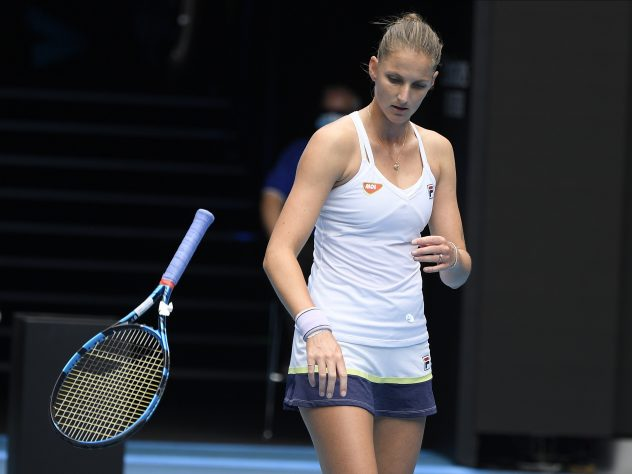 Karolina Pliskova gave her racket some rough treatment in her defeat to Karolina Muchova