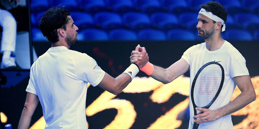Grigor Dimitrov and Dominic Thiem shake hands