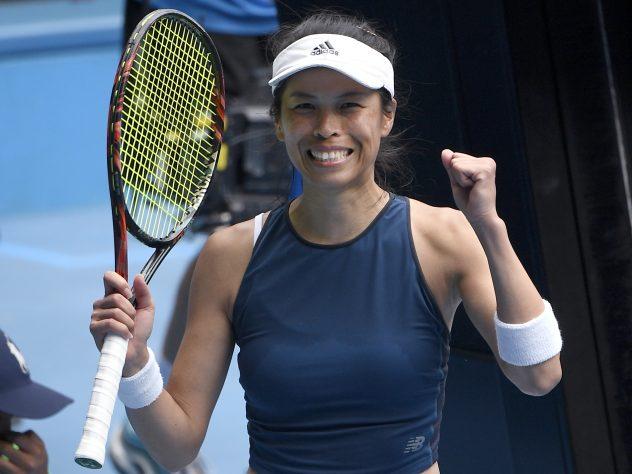 Hsieh Su-wei celebrates her win over Marketa Vondrousova