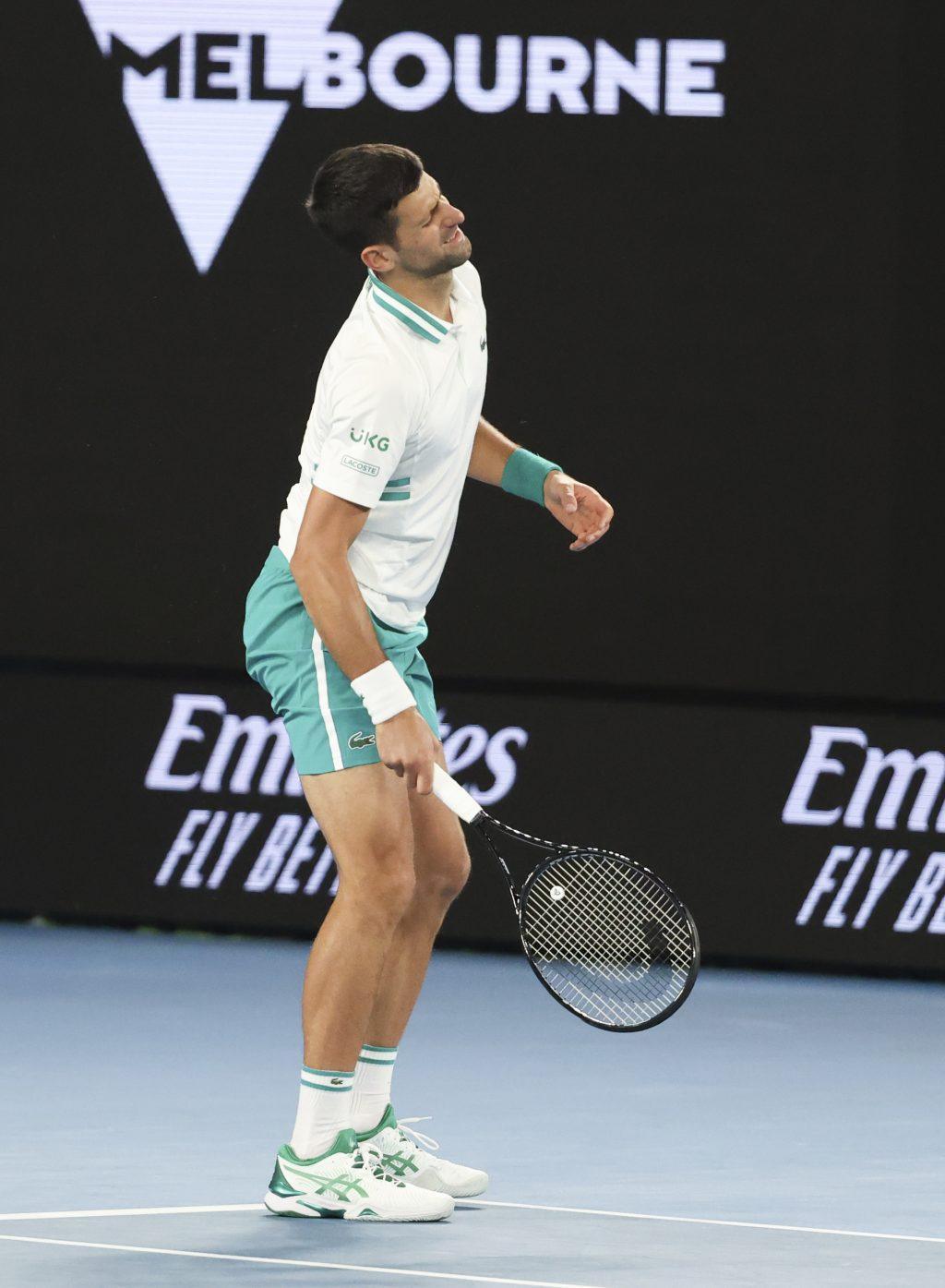 Novak Djokovic in pain