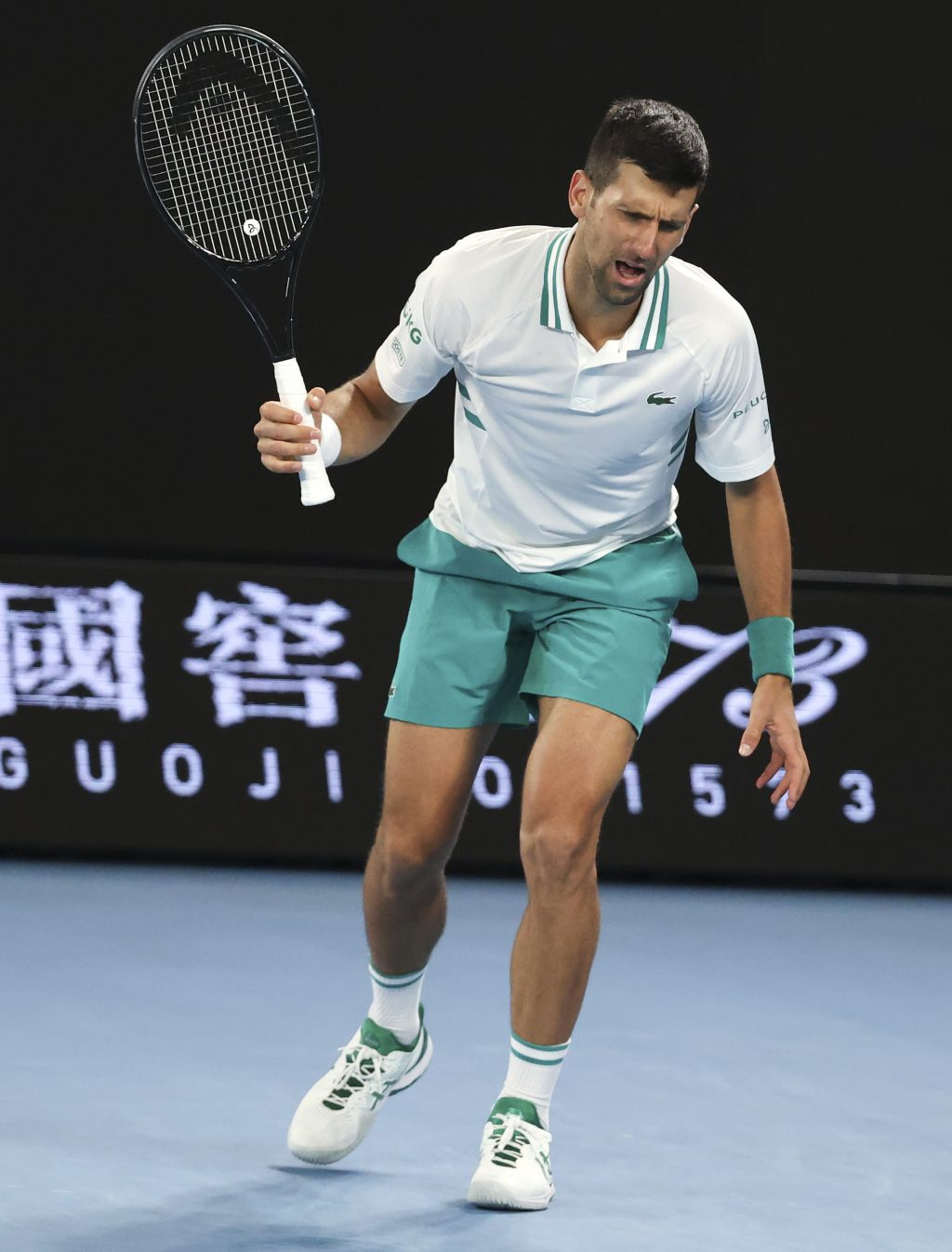 Novak Djokovic in discomfort