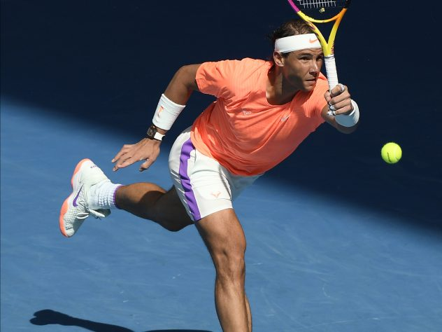 Rafael Nadal lunges for a forehand during his victory over Fabio Fognini