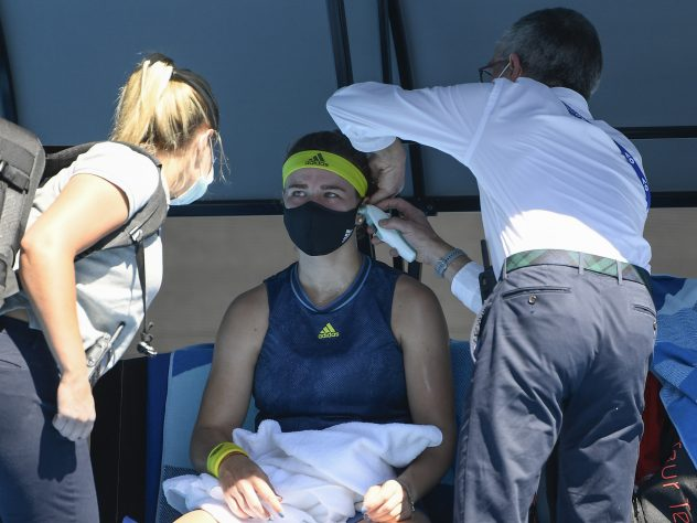 Karolina Muchova needed a medical time-out during her Australian Open quarter-final with Ashleigh Barty