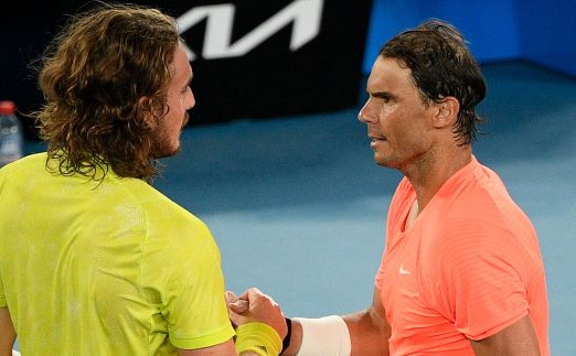 Stefanos Tsitsipas and Rafael Nadal shaking hands