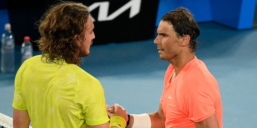 Stefanos Tsitsipas and Rafael Nadal shaking hands