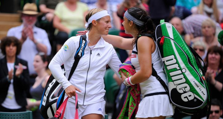 Kirsten Flipkens and Marion Bartoli at Wimbledon