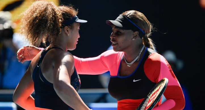 Naomi Osaka and Serena Williams hug