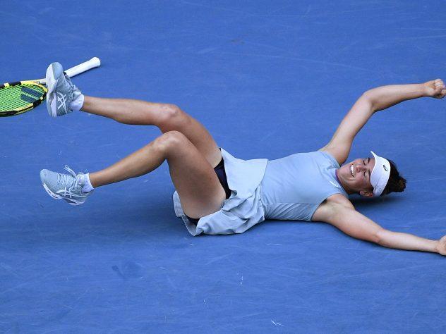 Jennifer Brady collapsed on the court after beating Karolina Muchova