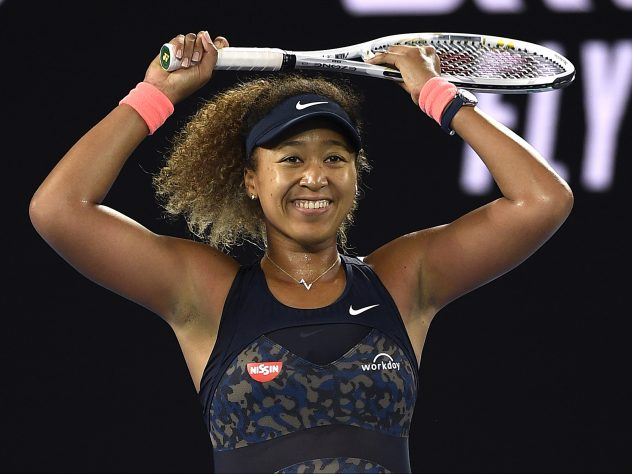 Naomi Osaka reacts to winning the Australian Open title