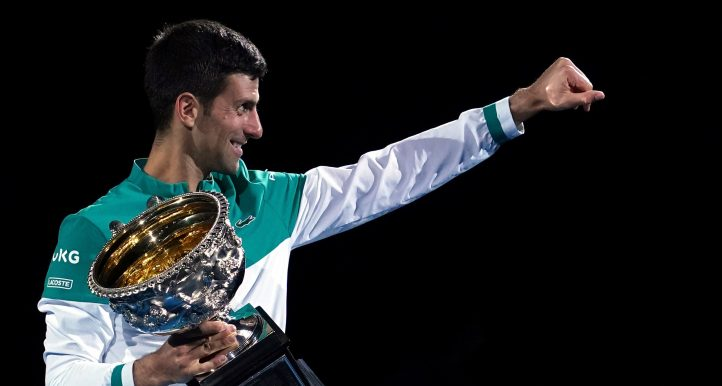 Novak Djokovic celebrates Australian Open title