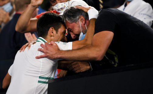 Novak Djokovic and Goran Ivanisevic celebrate