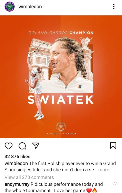 Andy Murray comment on Iga Swiatek