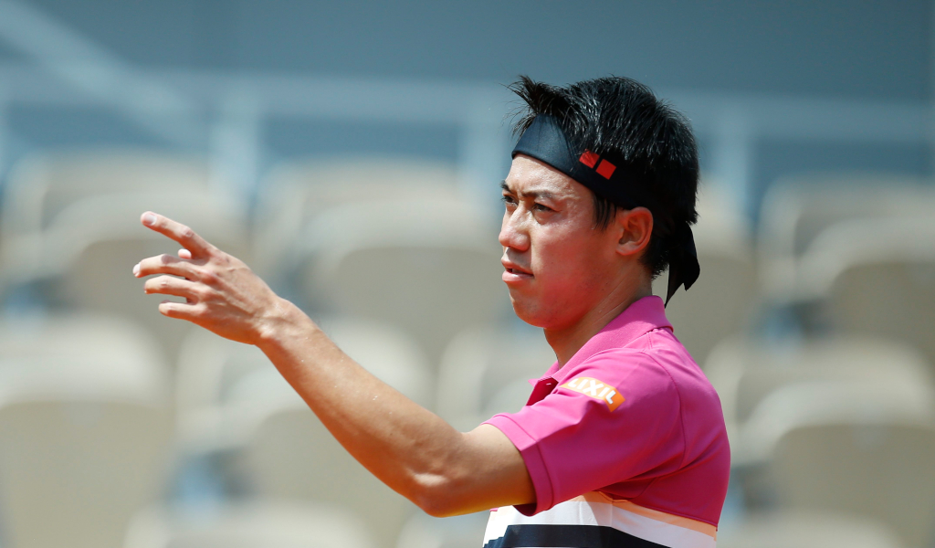 Kei Nishikori pointing