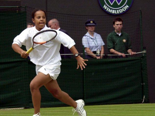 Yasmin Clarke playing at Wimbledon as a junior