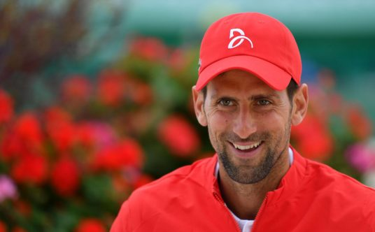 A smiling Novak Djokovic