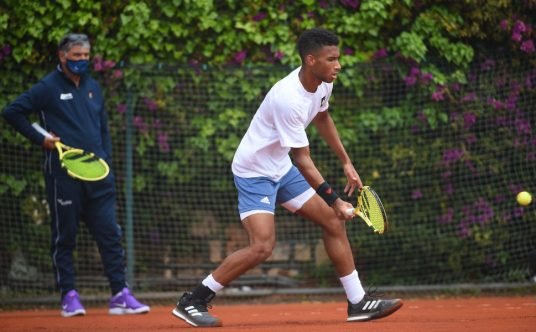 Toni Nadal and Felix Auger-Aliassime training
