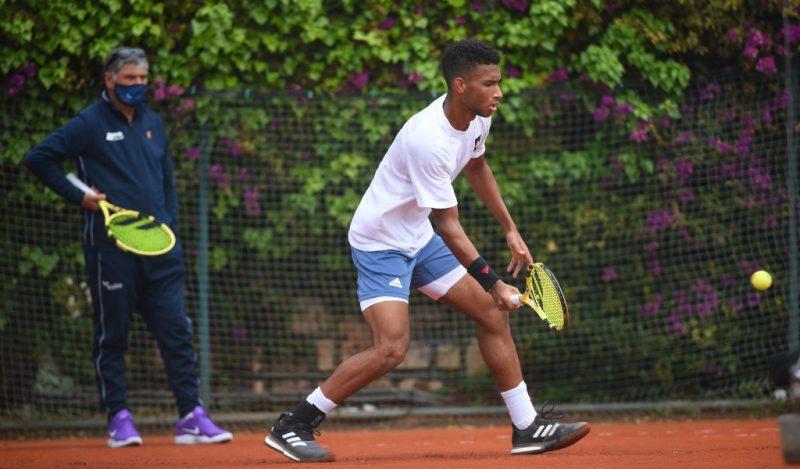 Toni Nadal and Felix Auger-Aliassime training