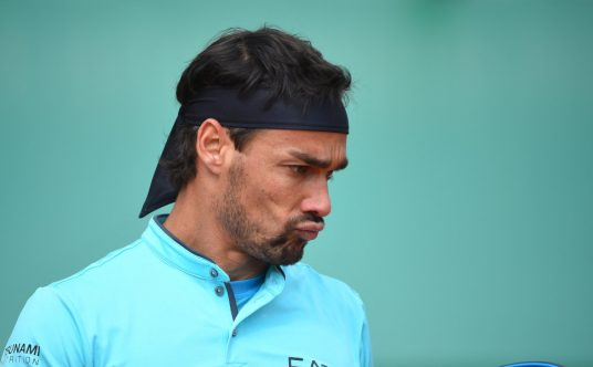 Fabio Fognini in action