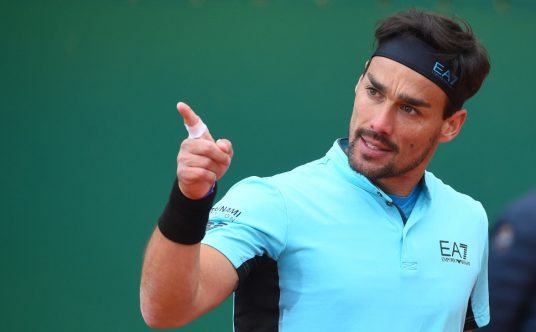 Fabio Fognini pointing the finger
