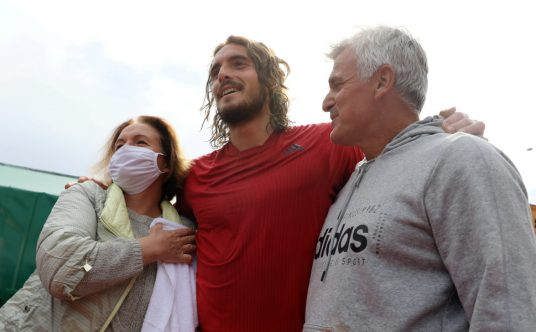 Stefanos Tsitsipas with his mother Julia and father Apostolos