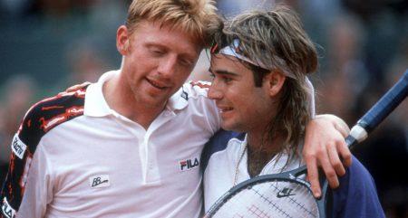 Boris Becker and Andre Agassi hugging