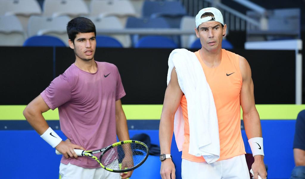 Carlos Alcaraz and Rafael Nadal at practise