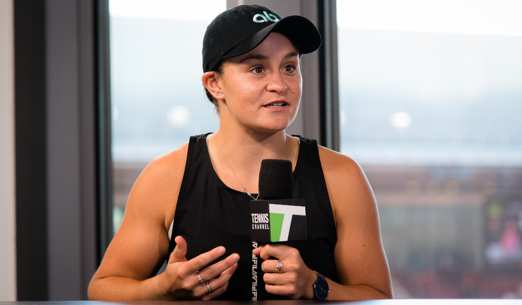 Ashleigh Barty being interviewed