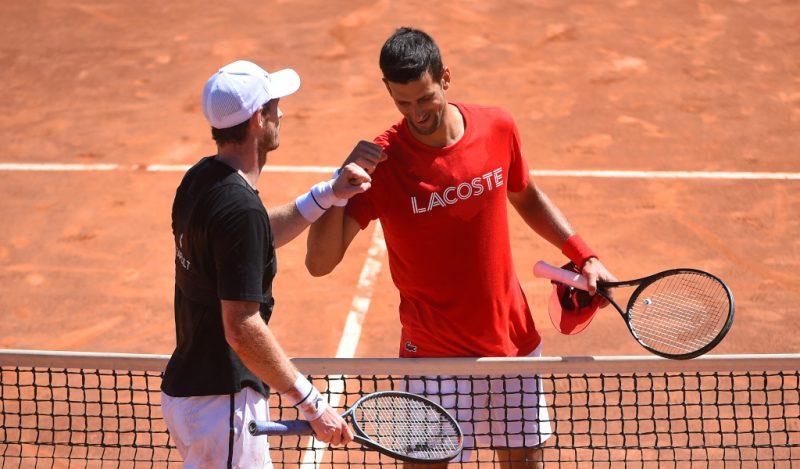 Novak Djokovic and Andy Murray practise