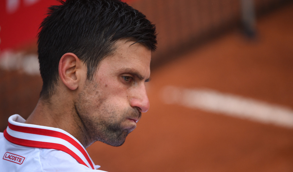 Novak Djokovic at the changeover