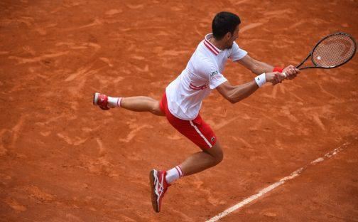 Novak Djokovic in the air
