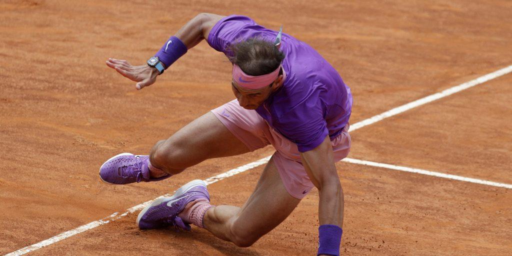 Rafael Nadal tumbles