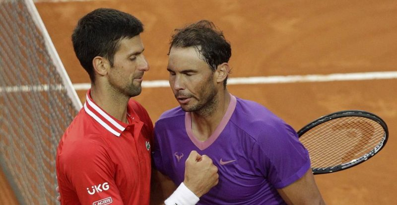 Novak Djokovic and Rafael Nadal at the end of the match