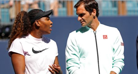 Serena Williams and Roger Federer chatting