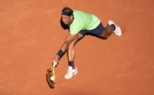 Rafael Nadal in full flight