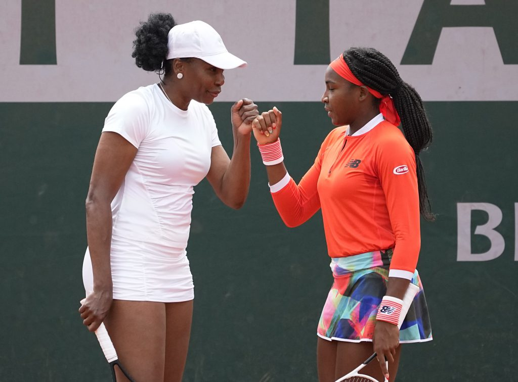 Venus Williams and Coco Gauff playing doubles