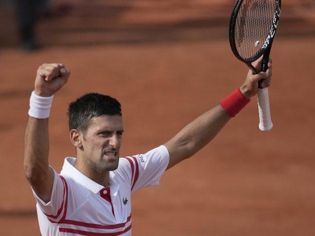Novak Djokovic celebrates victory over Pablo Cuevas