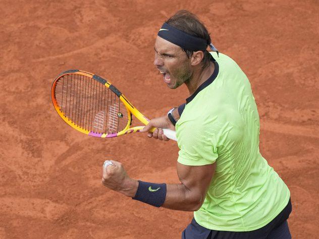 Rafael Nadal celebrates winning an important point
