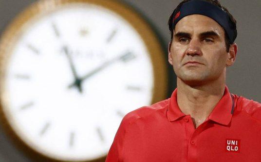 Roger Federer under the lights in Paris