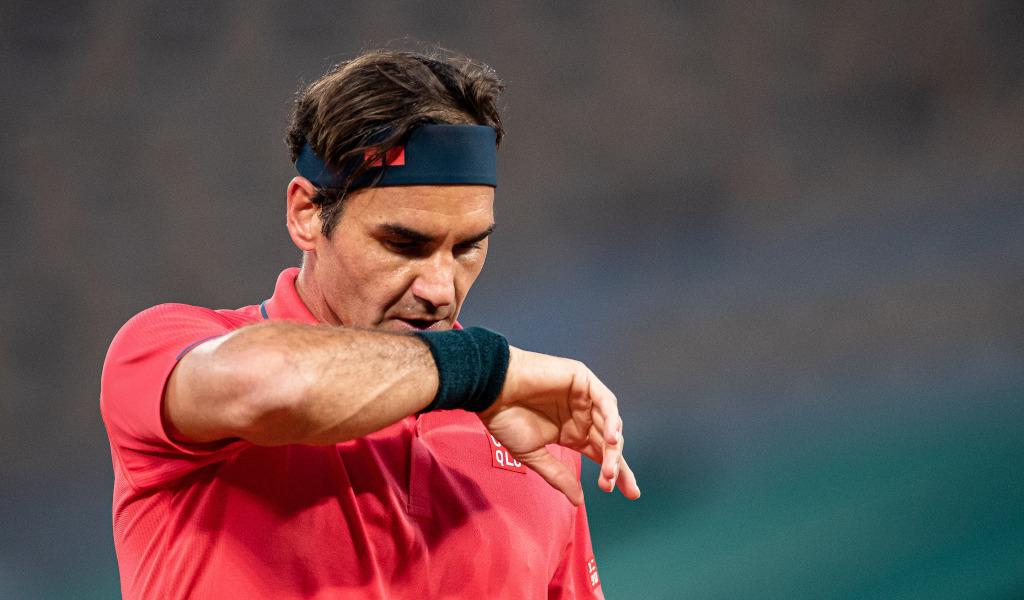 Roger Federer taking a breather